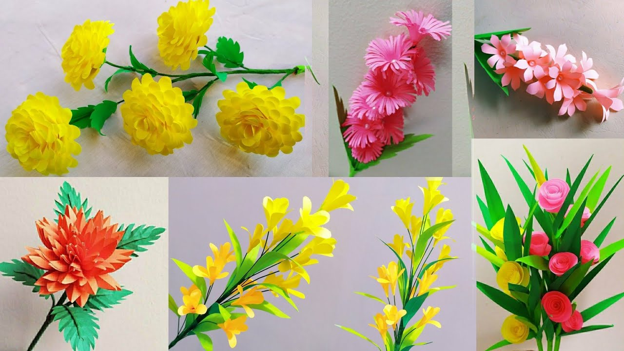 6 Handmade Paper Flower | DIY Home Decoration Paper Flowers |কাগজের ফুল