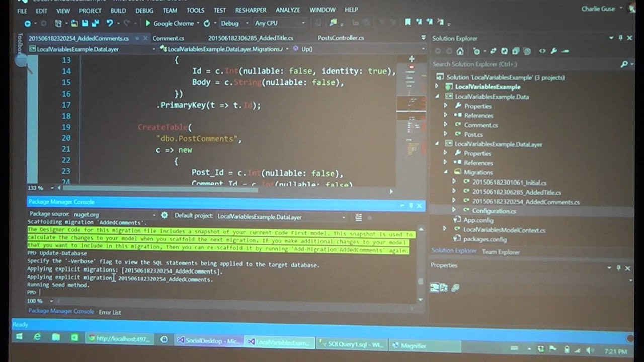 Entity Framework via Code First Migrations by Charlie Guse