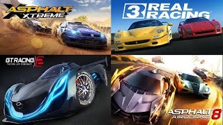 Real Racing 3 vs Asphalt 8 vs Asphalt Xtreme v GT Racing 2+Glitch Best Free Android+IOS Racing Games