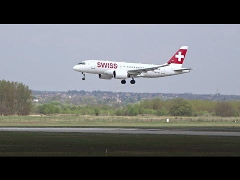 Swiss Bombardier CS100 Landing at Budapest Airport
