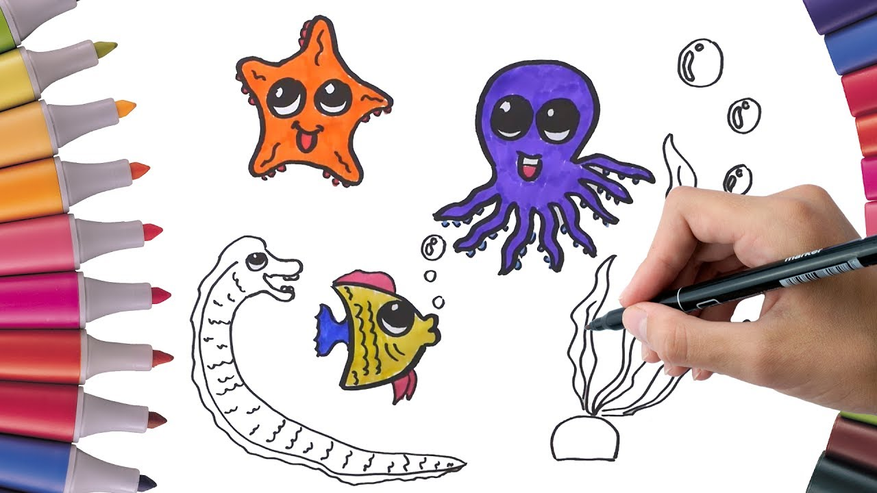 How To Draw and Coloring Fish, octopus, starfish, eel, seaweed for ...