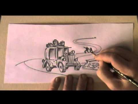 How to draw a car and a winding road fast pencil drawing