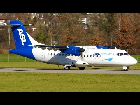 ASL Airlines ATR 42-320 Turboprop Take-Off at Bern
