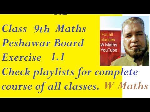 Ex 1.1 kpk peshawar board maths class 9th - YouTube