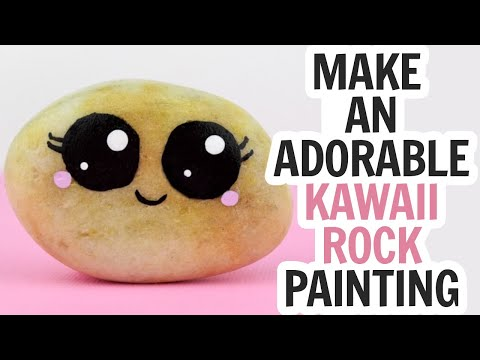 Rock Painting Circles and Kawaii Faces