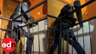 Incredible Raid Fail:  Spain's Civil Guard Really Struggle to Break Down Door