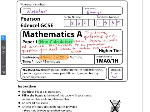 GCSE Maths Edexcel November 2015 Non-Calculator (Full Paper)