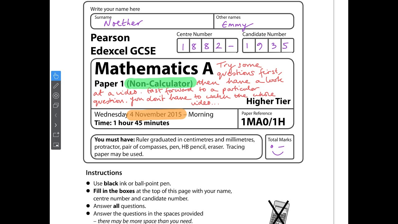 GCSE Maths Edexcel November 27 Non-Calculator (Full Paper)