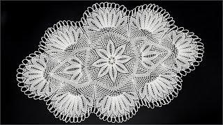 Салфетка спицами. Вязание салфетки для начинающих. Ажурная салфетка. Часть 1. (knitting cloth. P. 1)