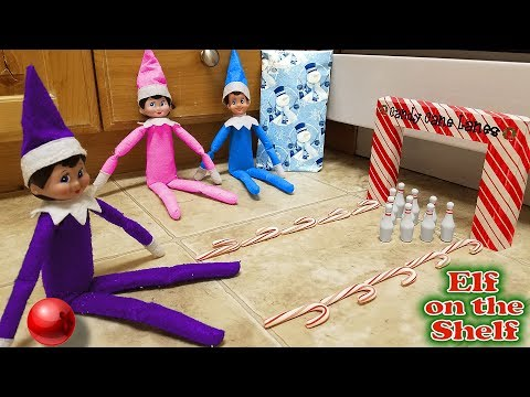 Purple & Pink Elf on the Shelf - Elf Bowling Candy Cane Lanes with Blue Elf! Day 29