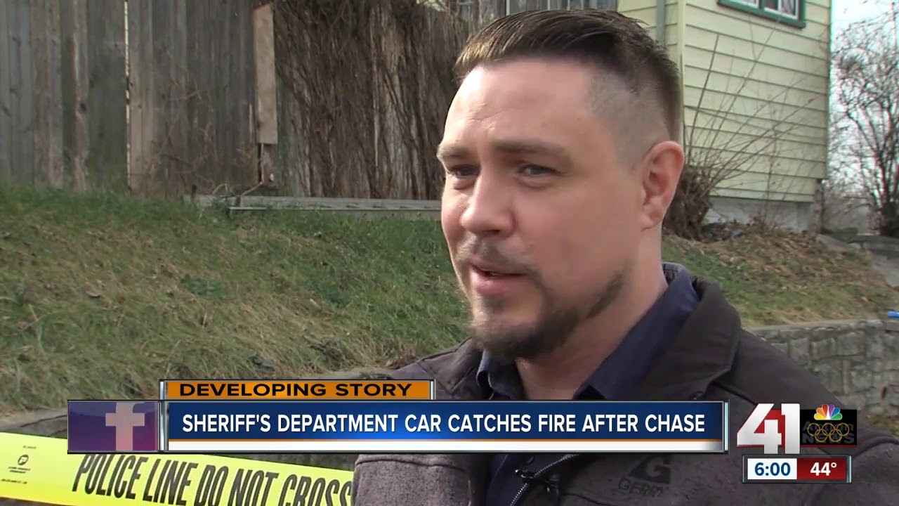 Wyandotte County Sheriff's car catches fire at end of police chase