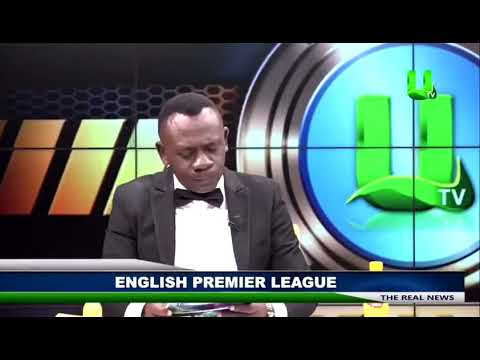Ghanaian news presenter reading Premier League results goes
