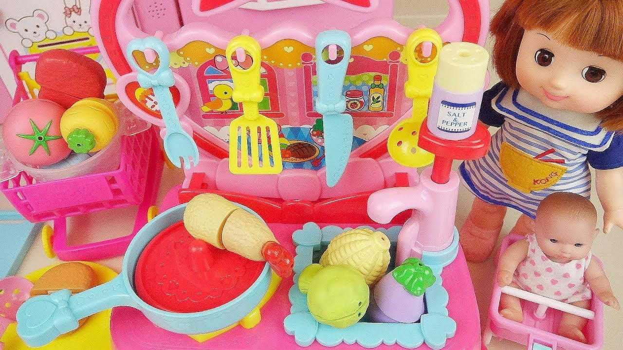 Baby Doll Kitchen Food Cooking And Fruit Toys Baby Doli Play Youtube