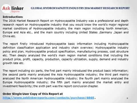 Hydroxyapatite Market Production and Industry share 2012-2016 Analysis and Forecasts 2020