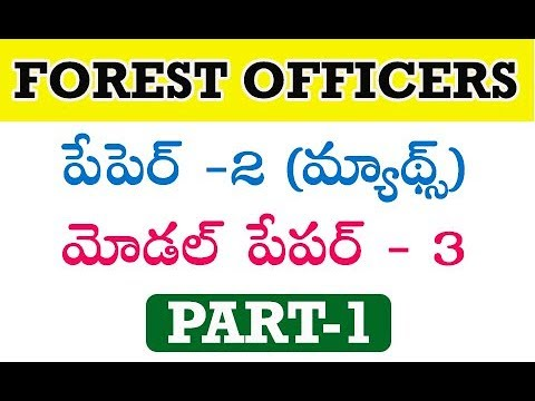 Forest Officers Model Paper 3 Paper - 2(maths) by manavidya