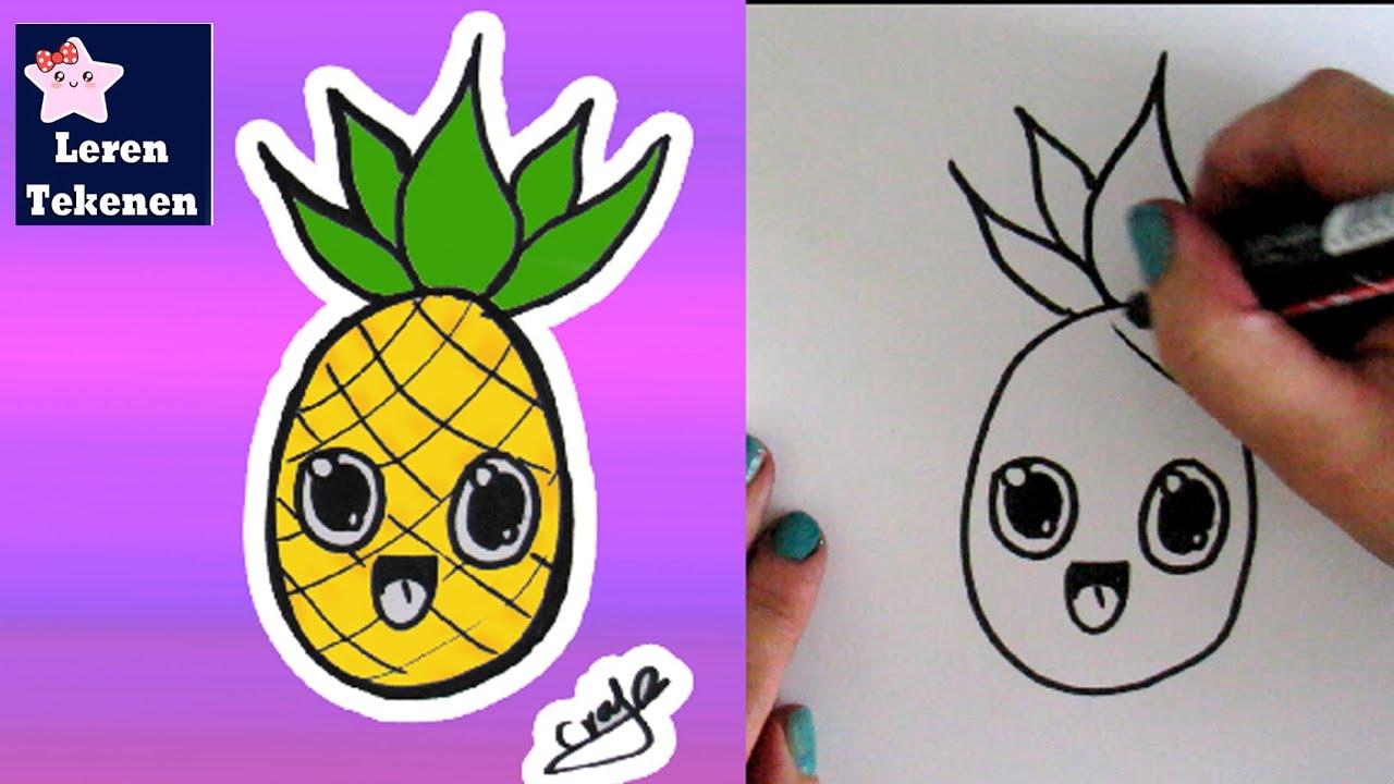 Hoe Teken Je Een Ananas Kawaii Beginners Tekenen Les Youtube