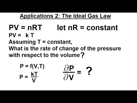 Calculus 3: Partial Derivative (22 of 50) Application 2 (The Idea Gas Law)
