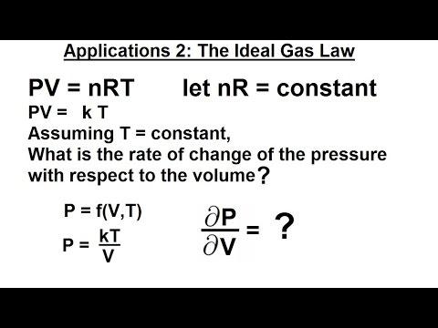 Calculus 3: Partial Derivative (22 Of 50) Application 2 (The Idea Gas Law)
