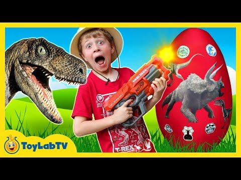 Thumbnail: GIANT Life Size Raptor Attacks LB, Dinosaur Surprise Egg w/ Dino Kid Family Game, Toys & Gummy Candy