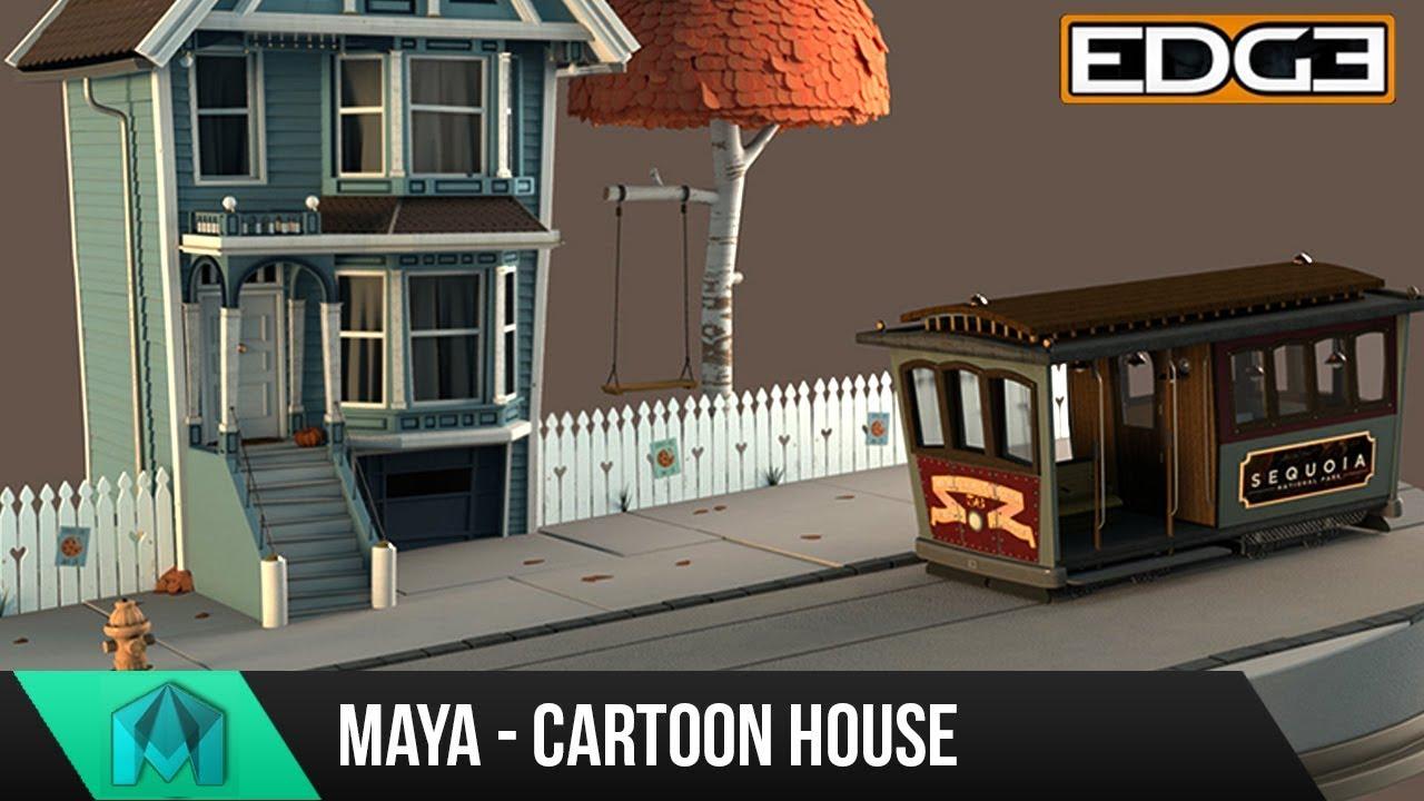 Maya 2018 Tutorial - Cartoon House breakdown - Modeling - Lighting - MASH Tree