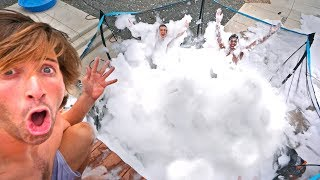 TRAMPOLINE turned into BUBBLE BATH! *FILLED WITH BUBBLES*
