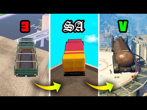 JUMPING from the HIGHEST BUILDING in TRUCK GTA GAMES 2001-2019 (Evolution)