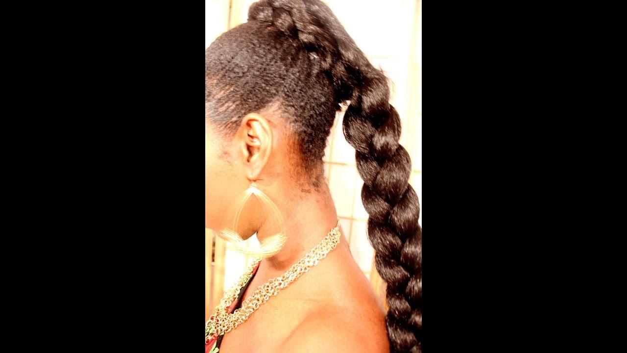 Fake French Braid Tutorial:: Short Natural Hair - YouTube