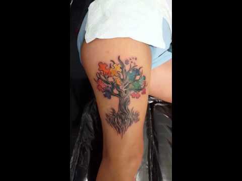Autism Puzzle Tree tattoo - YouTube