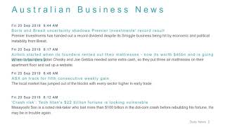 Business News Headlines for 20 Sep 2019 - 1 PM Edition