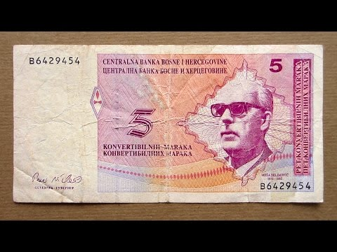 5 Bosnian Convertible Mark Banknote (Five Convertible Mark Bosnia and Herzegovina: 1998)