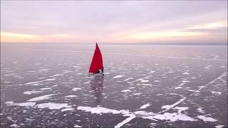 Челябинск.Буер.с высоты.озеро Смолино 2017первый лёд. дрон DJ  Mavic Pro