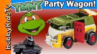 NINJA TURTLE Party Wagon Pavement Pounder! Missels Launch Shredder Down! [Box Open] HobbyKidsTV