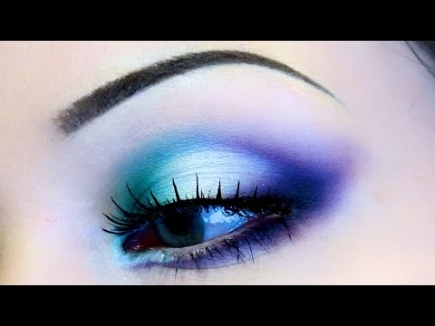 TRI-COLOR WINGED EYESHADOW ♡ TURQUOISE, PURPLE AND WHITE MAKEUP ...