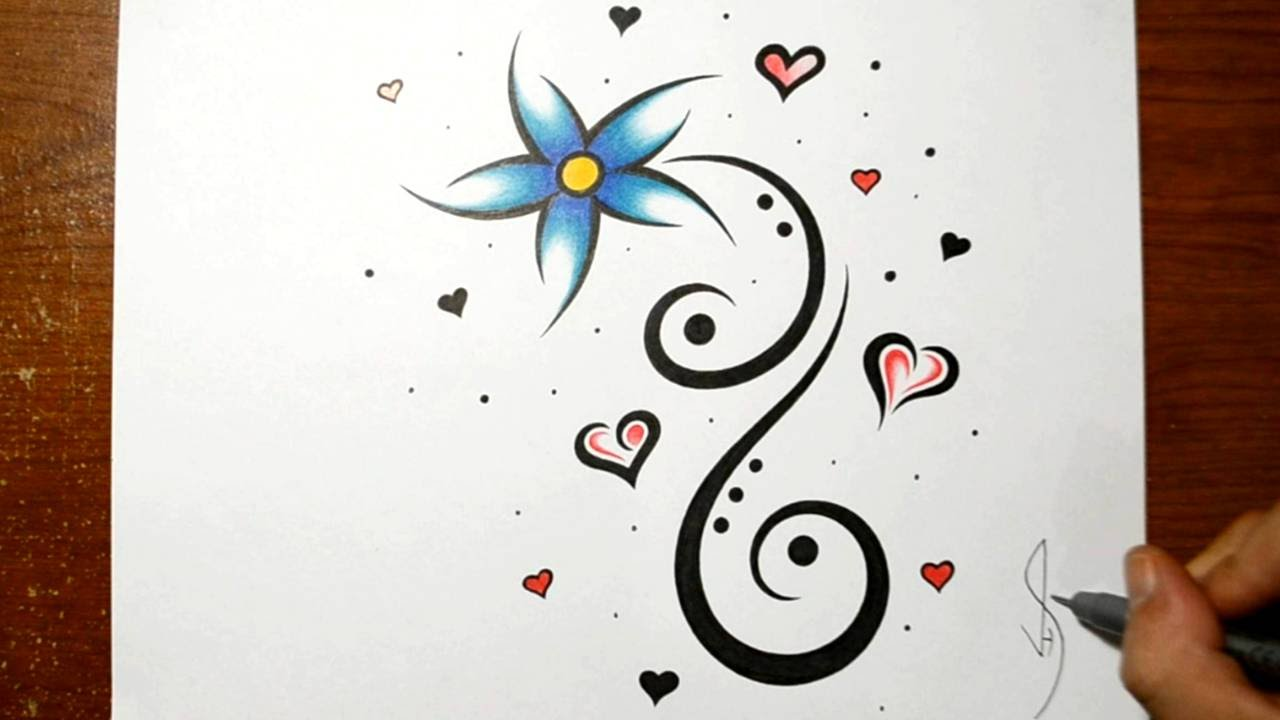 Designing A Cool Flower Tattoo Design With Hearts Youtube