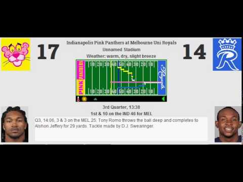 Week 15: Indianapolis Pink Panthers (9-5) @ Melbourne Uni Royals (7-7)