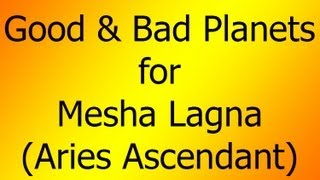 Good & Bad Planets for Aries Ascendant (Mesha Lagna)