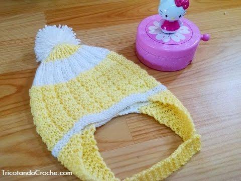 Gorro Aviador em tricô - Tricotando Crochê (Available subtítles ... 4a165c8dd77