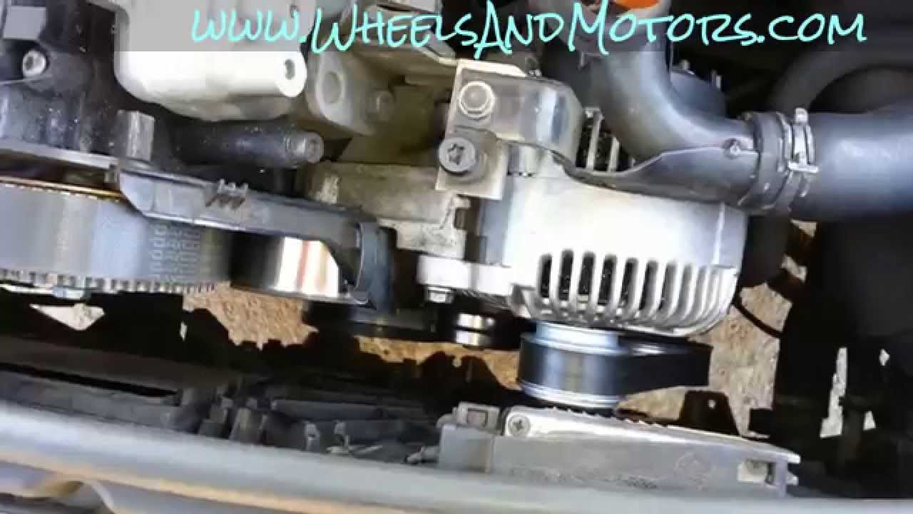 how to replace auxiliary belt poly v belt for audi a6 c6 4f 2 0 tdi youtube [ 1280 x 720 Pixel ]