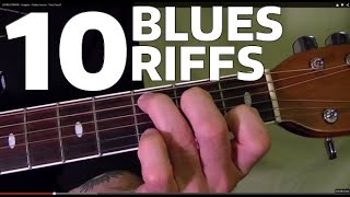 10 MUST LEARN Blues Riffs - Guitar Lesson ✅✅🎵