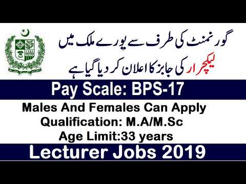 Latest Lecturer Jobs 2019 Announced By FPSC