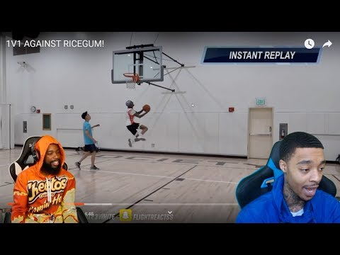 Reacting To FLIGHT vs RICEGUM! HE HIT A REVERSE AND1 LAYUP 😳