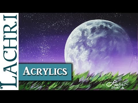 How to paint an easy moon and stars in acrylic - w/ Lachri