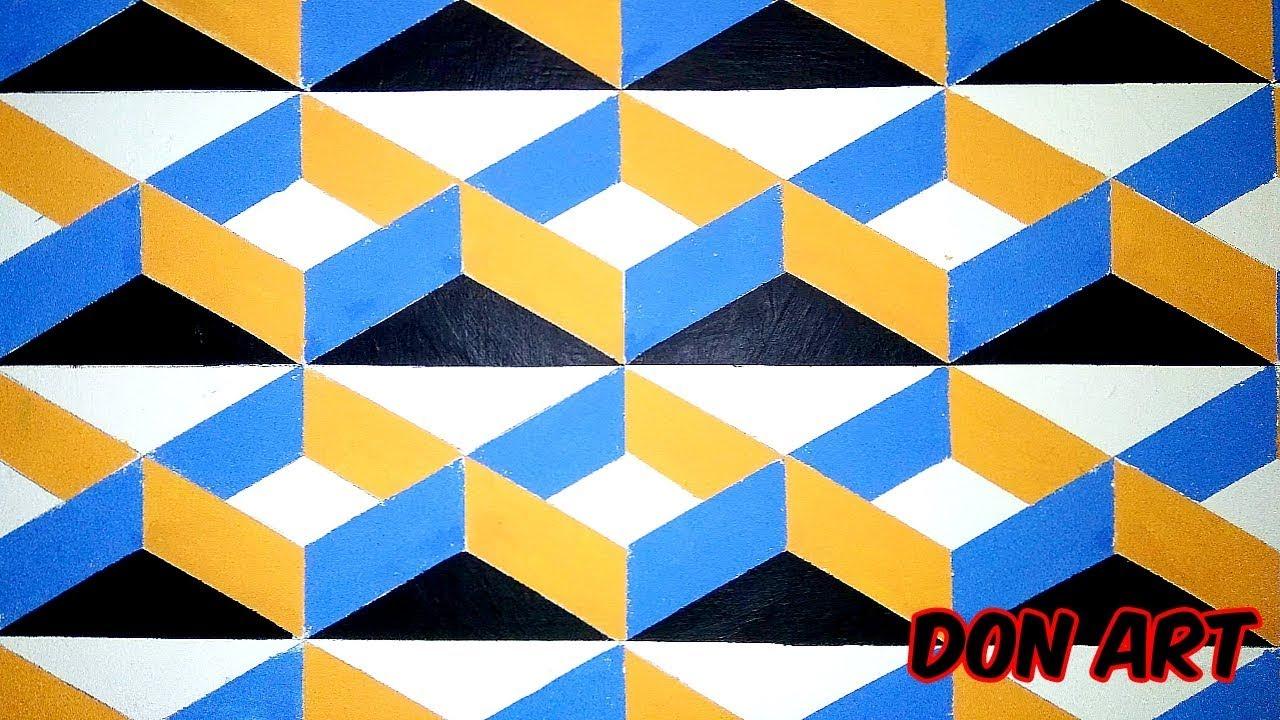 3D Wall Art Draw Painting Wallpaper Easy Lukisan Cat Dinding Tembok Segi Enam Tiga Dimensi 3D