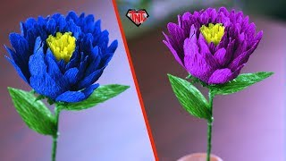 Easy & Simple Crepe Paper Flower Making Tutorial 🌹 Crepe Paper Stick Flowers