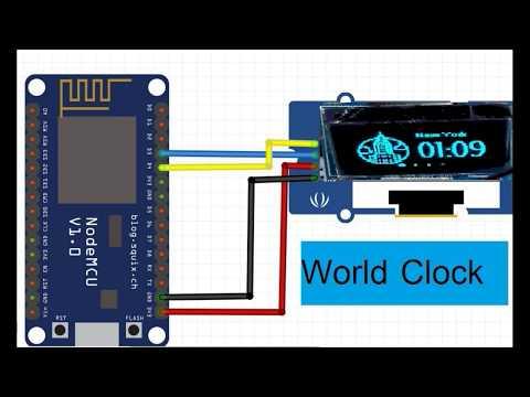 ESP8266 node MCU + SSD1306 OLED display Build World Clock