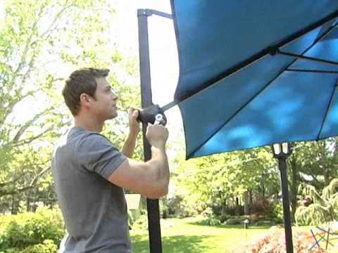 Coral Coast 8 Ft Square Offset Patio Umbrella   Product Review Video