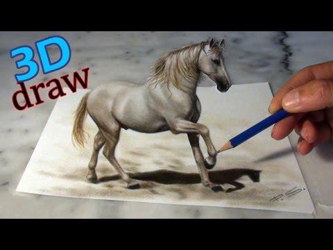 Zeichnen eines Pferdes in 3D/ Illusionsmalerei optische Täuschung!!