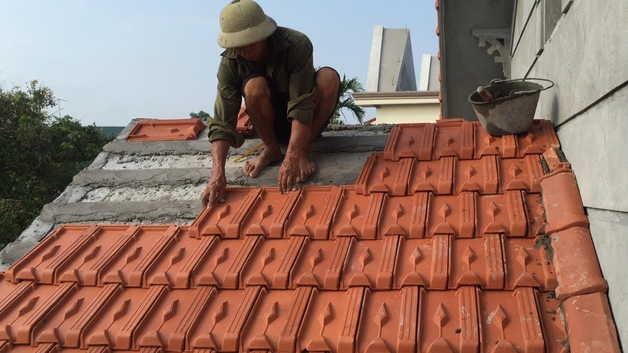 Construction Project Install Easy Concrete Awnings With Tile Roofing Install Roof Tiles Youtube
