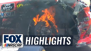Double Trouble! Both JGR teammates have tire issues to end the stage | NASCAR on FOX HIGHLIGHTS