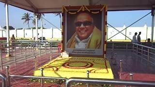 Karunanidhi Samadhi -  Kalaignar Samadhi - M Karunanidhi DMK @ Marina Beach, Chennai